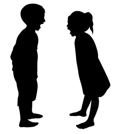 Illustration for crazy children silhouette vector - Royalty Free Image