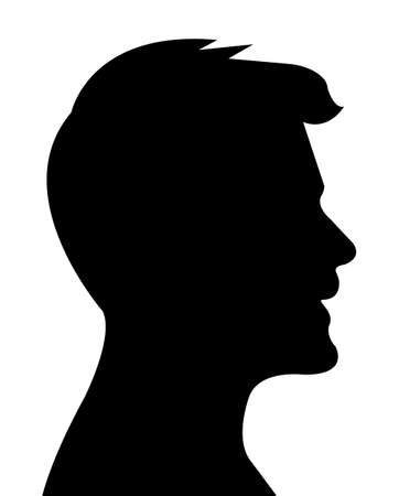 Illustration for Man head silhouette vector - Royalty Free Image