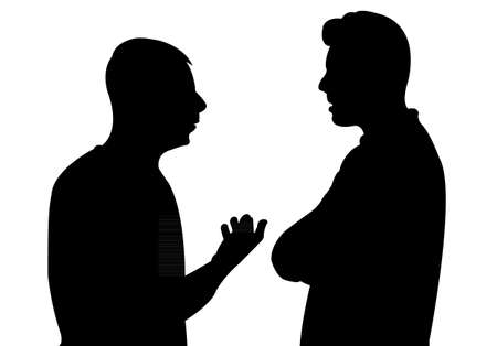 Illustration pour Black silhouettes of two men standing and talking to each other - image libre de droit