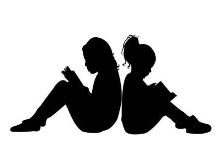 Illustration for child reading the book, silhouette vector - Royalty Free Image
