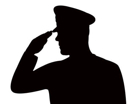 Foto per soldier saluting, silhouette vector - Immagine Royalty Free