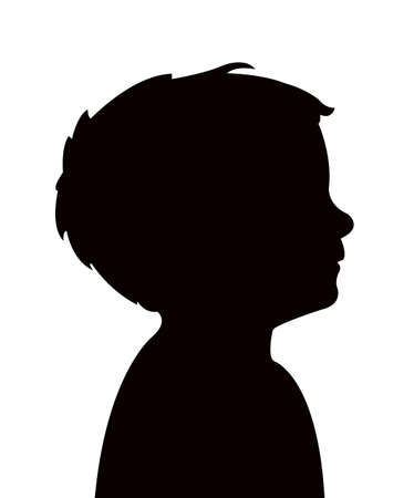 Illustration for a boy head silhouette vector - Royalty Free Image