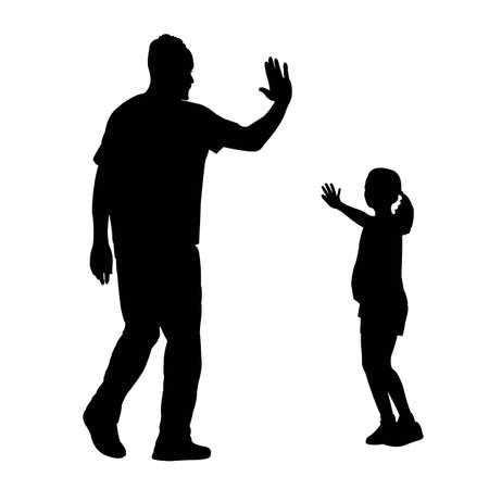 Illustration for a man and girl playing, silhouette vector - Royalty Free Image