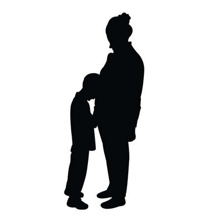 Illustration for a woman and son body silhouette vector - Royalty Free Image