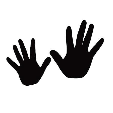 Illustration pour a pair hands silhouette vector - image libre de droit