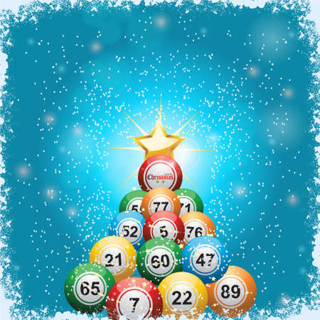 Bingo Lottery Balls Christmas Tree and Star Over Blue Background with Snow