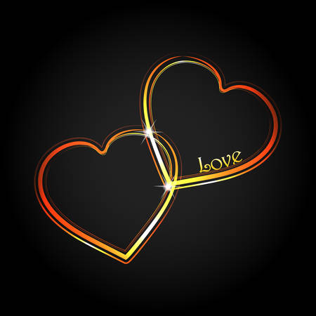 Fluorescent Neon Light Interlocked Hearts with Decorative Love Text Over Black Background
