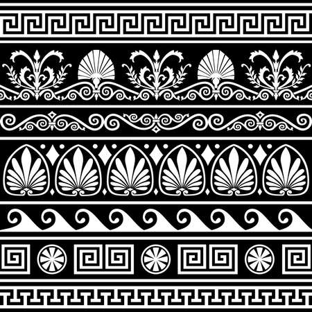Set of antique greek borders on black