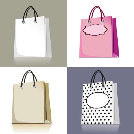 Set of shopping bags in different design and colors
