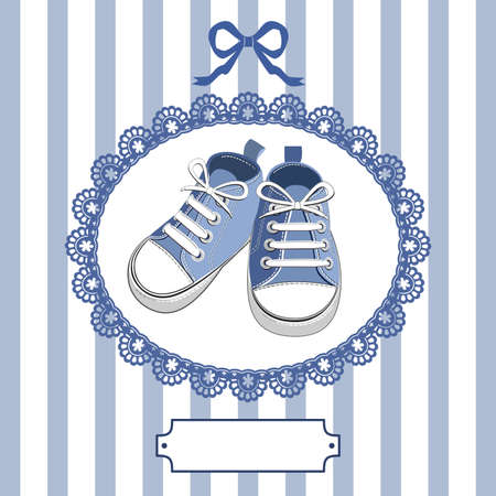 Illustration for Blue baby shoes and frame - Royalty Free Image