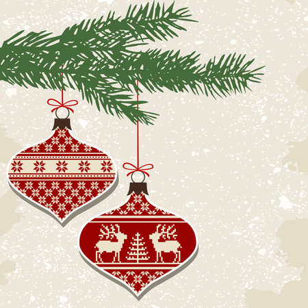 Retro christmas balls with ornaments