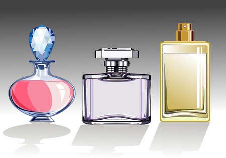 Three glass perfume or eau de toilette bottles