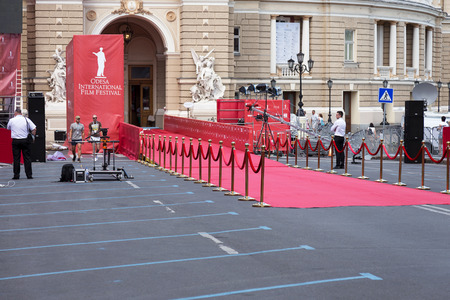 Odessa, Ukraine - July 15, 2017: Way to success on the red carpet (Barrier rope). Odessa international film festival, July 15, 2017, Odessa.