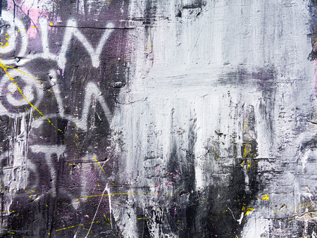 Foto de Rough paint dripping, spray paint artwork. Abstract background oil paint painting style. Damage to walls with many colors. Rough concrete surface with cracks, scratches and paint stains - Imagen libre de derechos