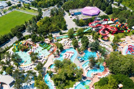Foto de Albena, Bulgaria, Aquapark view from above, people relaxing on a summer day. Aerial image a drone. Travel and vacation concept. - Imagen libre de derechos
