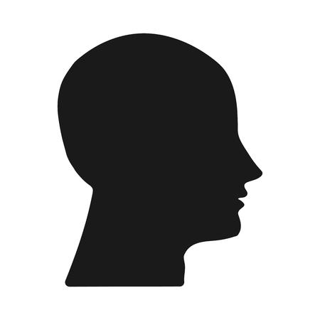 Dark silhouette heads on white background