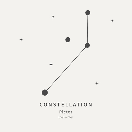 Illustration pour The Constellation Of Pictor. The Painter - linear icon. Vector illustration of the concept of astronomy - image libre de droit