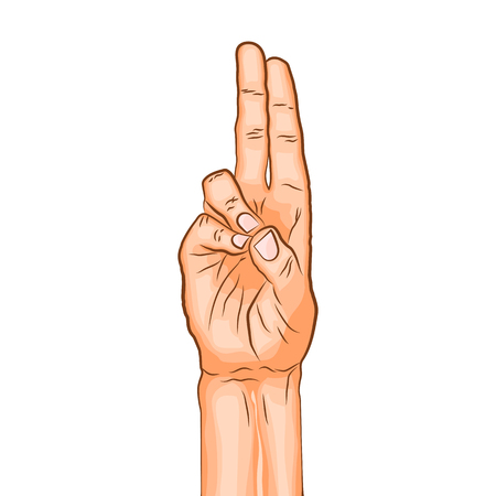 Illustration pour Prana mudra - gesture in yoga fingers. Symbol in Buddhism or Hinduism concept. Yoga technique for increase vitality and activate the muladhara chakra. Vector illustration isolated on white background - image libre de droit