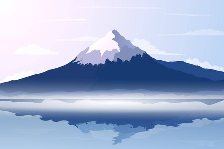 Illustration pour Panorama of Fuji Mountain with Reflection on Water of Lake - Famous Landmark of Japan. Vector Illustration - image libre de droit