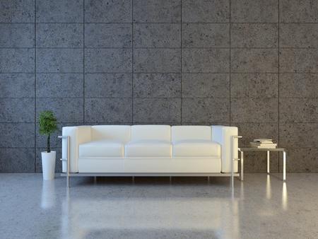Modern interior with sofa and bonsai