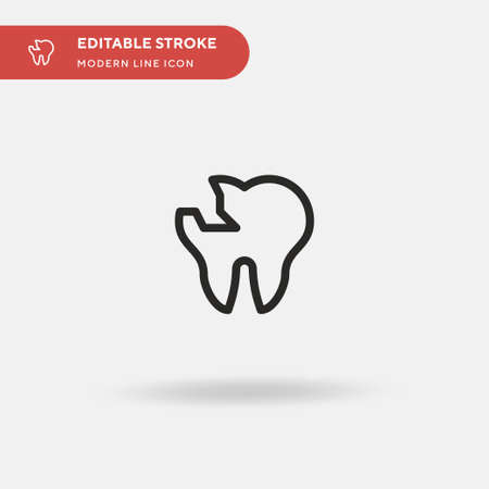 Broken Tooth Simple vector icon. Illustration symbol design template for web mobile UI element. Perfect color modern pictogram on editable stroke. Broken Tooth icons for your business project