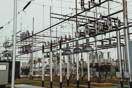 Photo pour electrical towers, distribution centers, high voltage cables, high voltage areas. - image libre de droit