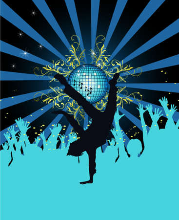 Abstract party poster with disco ball