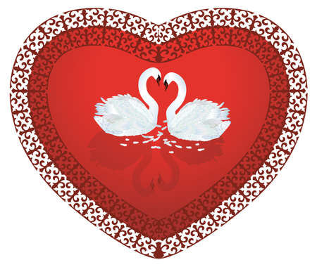 Swan Heart,two swans in shape of heart valentine's day card
