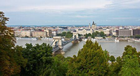 Panoramic of the Chain bridge in Budapest, Hungary.