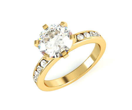 Wedding gold diamond ring isolated on white background