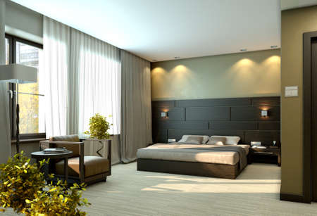Modern luxury elegant bedroom interior