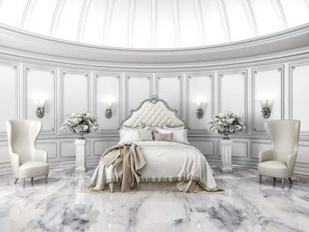 Photo pour Interior of a classic style round bedroom in luxury villa - image libre de droit