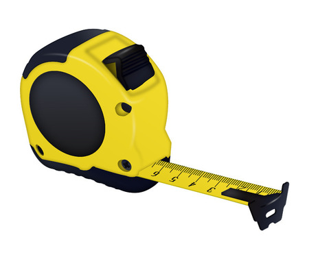Photo pour Construction isolated yellow measuring tape on white background. - image libre de droit