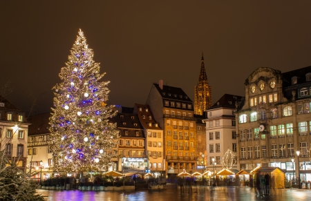 Christmas tree at Place Kleber in Strasbourg,  Capital of Christmas   Alsace, France