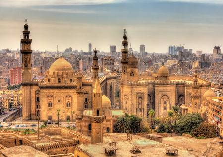 View of the Mosques of Sultan Hassan and Al-Rifai in Cairo - Egypt