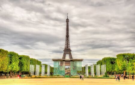 The wall of peace and the Eiffel Tower in Paris