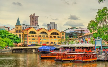 Photo for Heritage boats on the Singapore River - Royalty Free Image
