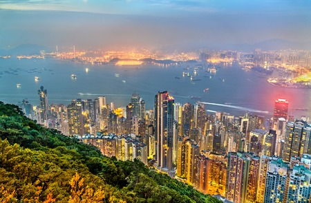 Photo for Panorama of Hong Kong Island in the evening, China - Royalty Free Image
