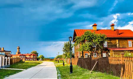 Traditional wooden houses on Sviyazhsk Island in Russia
