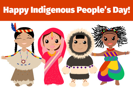 Indigenous day banner. Multinational characters.