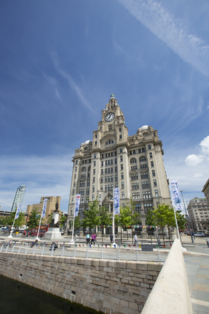 Liverpool, UK, 24th June 2014, the Royal Liver Building again blue sky during the daytime