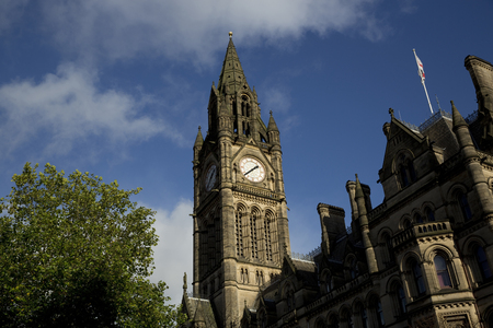 Photo pour Manchester, Greater Manchester, UK, October 2013, view of Manchester Town Hall - image libre de droit