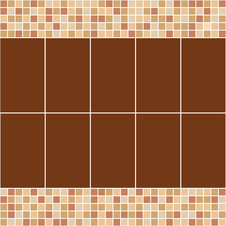 Brown and beige ceramic tile mosaic. Vector seamless pattern. Design for cover, textile, pool, kitchen, bathroom.