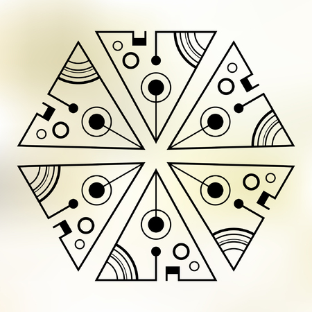 Six symmetrically arranged triangles, separated with lines