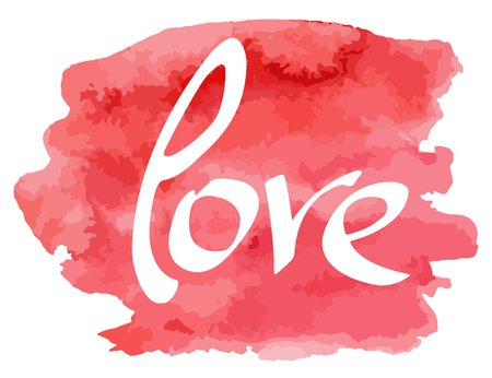 Illustration pour Hand made lettering word Love on watercolor imitation color splash over white background. Phrase for Valentine's day. Hand drawn text. Positive quote. Red grungy watercolor stain. Vector illustration. - image libre de droit