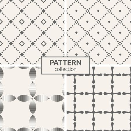 Illustration pour Set of four seamless patterns. Abstract geometric trendy vector backgrounds. Modern stylish textures of repeating rhombuses, сrosses with rounded corners, stylized flowers. Geometry pattern grid. - image libre de droit