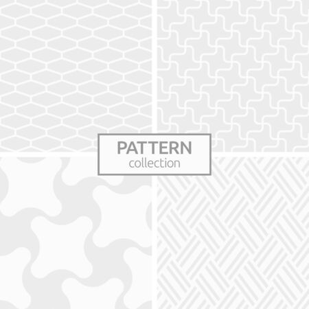 Illustration pour Set of four abstract geometric seamless patterns. Modern stylish background. White and gray geometric textures. Regularly repeating smooth swirling shapes, inclined stripes, hexagon tiles. - image libre de droit