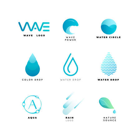 Ilustración de Abstract logo. Water logo. Wave logo. Geometric logo. Water line logo. Nature logo. Nature elements logo. Water vector logo. Water energy logo - Imagen libre de derechos