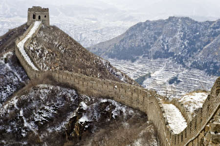 A section of the great wall of China in Winter