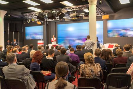 Foto de Business Conference and Presentation. Audience at the conference hall. - Imagen libre de derechos